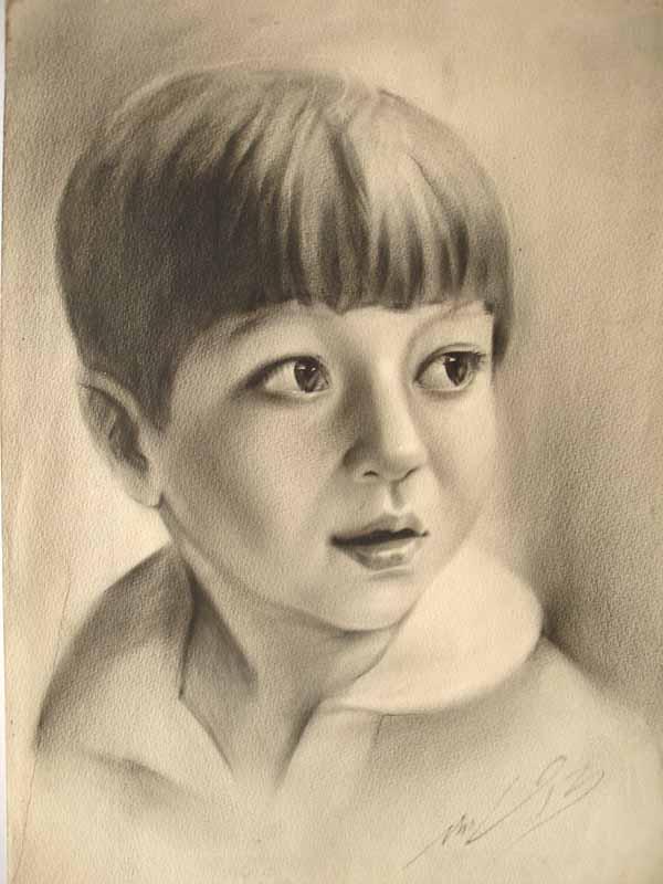 Портрет детский соус карандаш