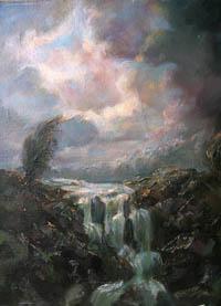 Водопад картина живопись